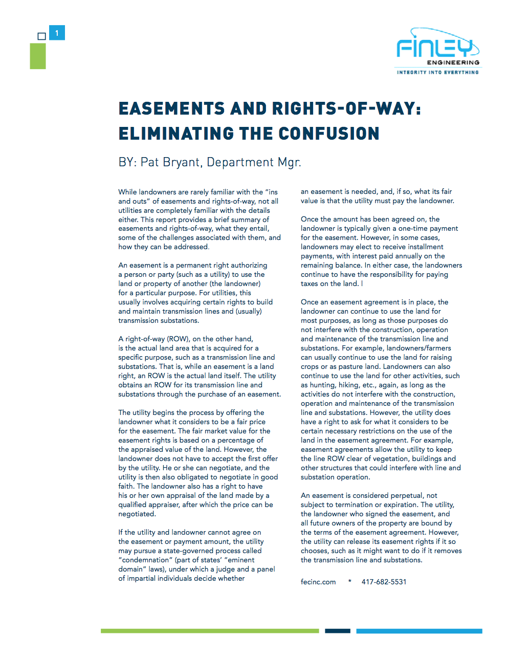 Energy Whitepaper Easements And Rights Of Way