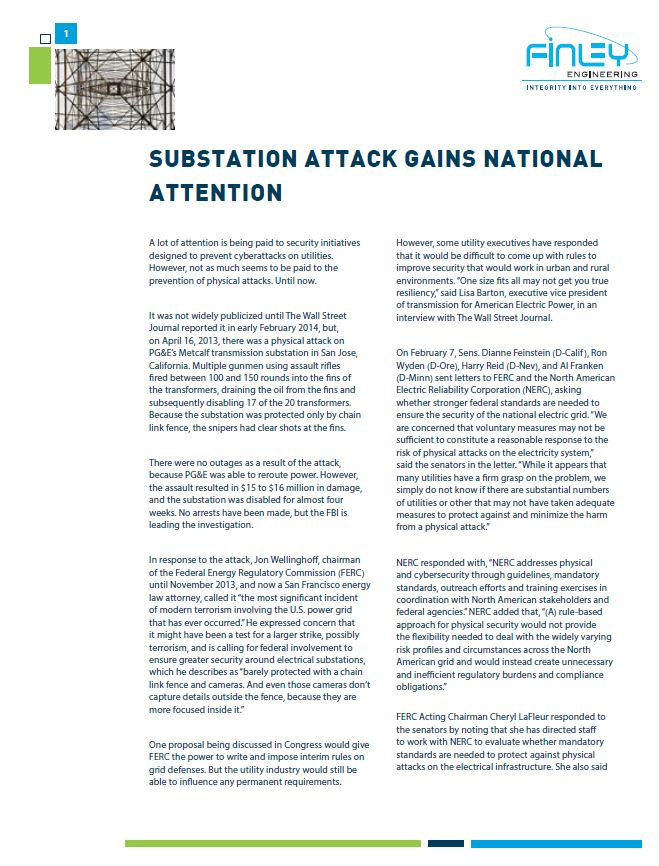 Substation Attack Gains Natl Attention