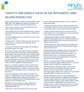Capacity and Energy Issues Integrated Grid 2016